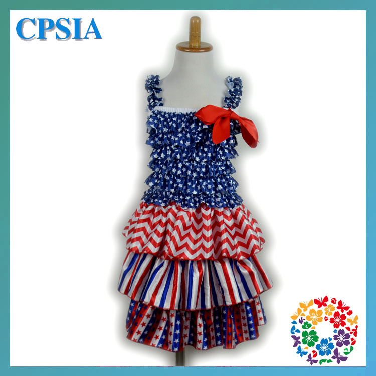 Dresses 10 years old dress 4th of July design Royal blue white red stars chevron printed ribbon bow Girls' Dresses