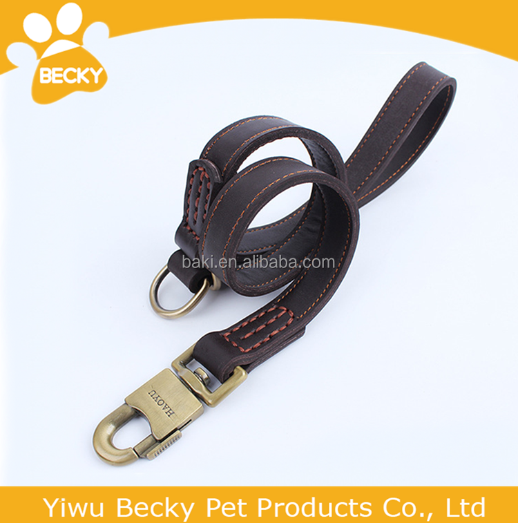 Wholesale High Quality Genuine Leather Large Pet Dog Leash With Hook