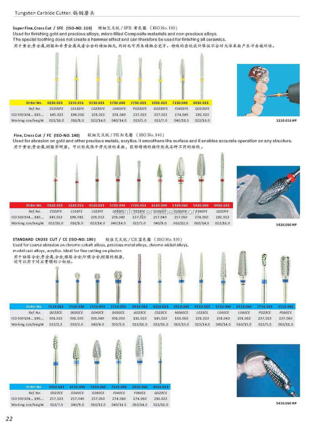 low speed 6mm bullet shaped tungsten carbide bur