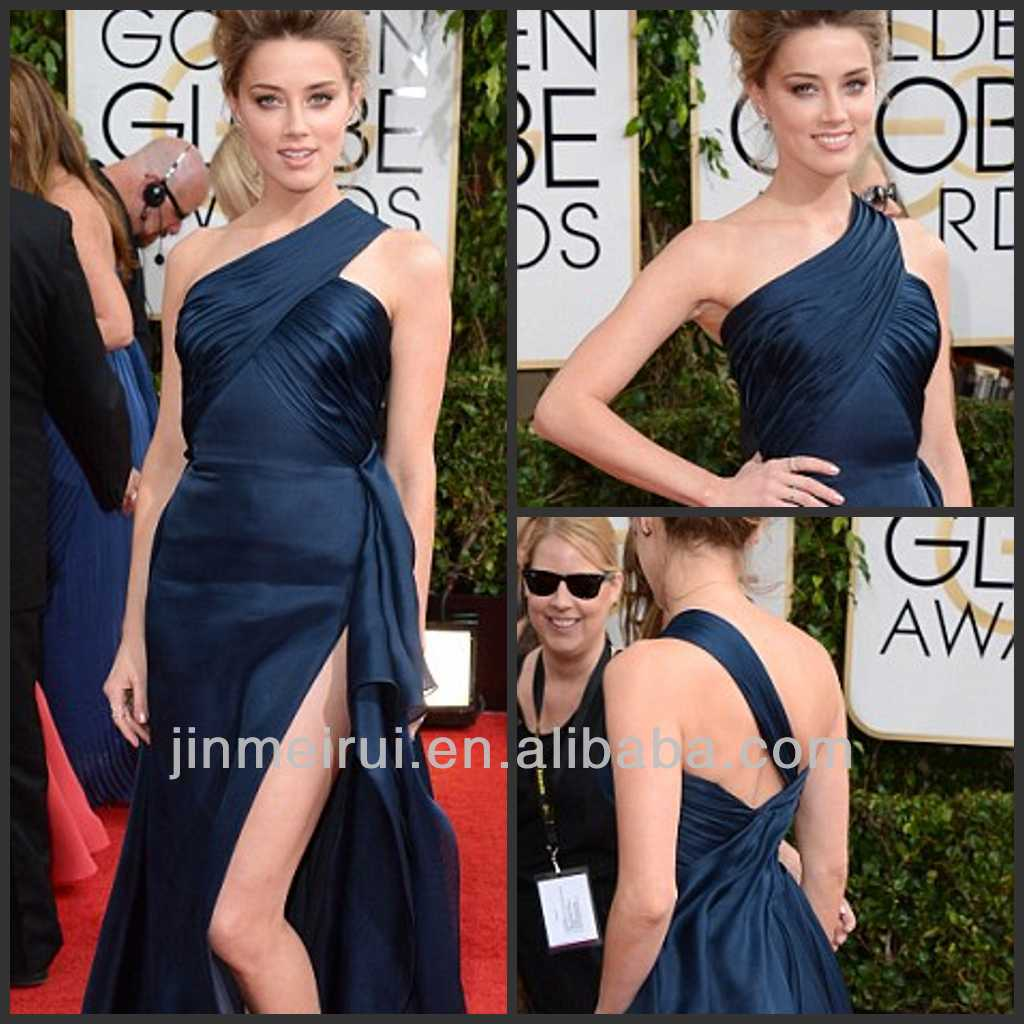 Navy Blue Beauty Golden Globe Award Red Carpet One Shoulder Celebrity Dress High Silt Evening Dresses From Dubai HE58