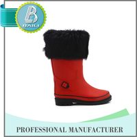 Customised designs fashionable winter fur kids red boots