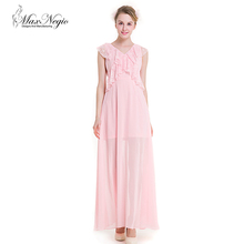 Maxnegio sexy long maxi pink color with ruffle neck evening dress for girls