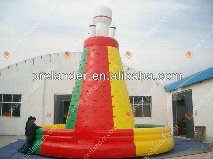 Colorful and attractive rocket Inflatable climing wall for theme park&outdoor playground&funfair games