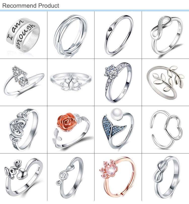 Bijoux de mode Cubique Zircon Bague De Mariage Empilable 925 Bague en Argent Sterling pour Les Femmes