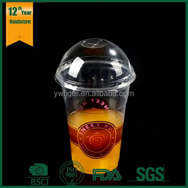 16oz 600ml custom cheap disposable clear PP plastic juice cups with dome lids