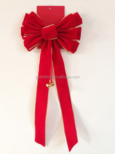 Velvet Butterfly Ribbon Tie Bow with Jingle Bells for Xmas Tree Decoration