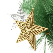 2016 New 13cm plastic glittered star ornament Christmas decorations