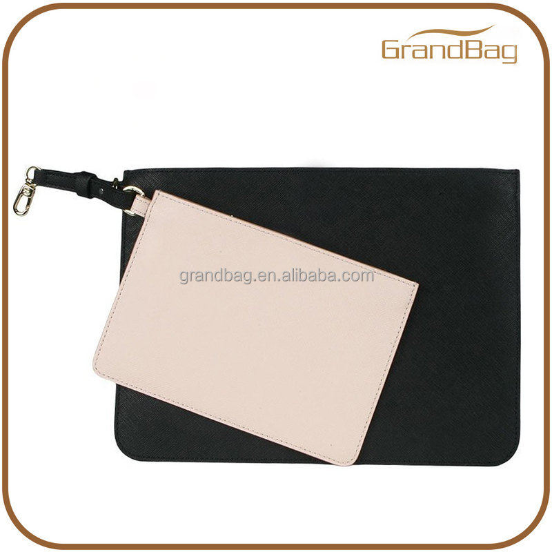 new fashion black saffiano genuine leather clutch bag zipper evening party clutch bag ladies envelop pouch bag