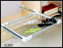 Pull out 2 tier wire shoe rack for wardrobe