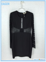 Top Selling Products Latest Skirt And Blouse Long Sleeve Black Color Fashion Cutting Blouse
