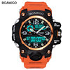 BOAMIGO Brand Dual Display LED Digital Watch Military Wrist Watches 50m Waterproof Silicone Clock