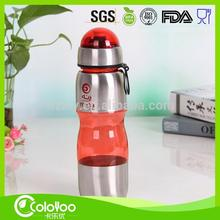 Cheap stainless steel and plastic water bottle 800ml PC/PCTG/TRITAN material