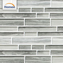 298x304mm living room internal wall decoration grays strip 8mm tiles mosaic glass mosaic tile