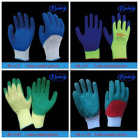 13g colorful nylon coated super soft girls latex gloves