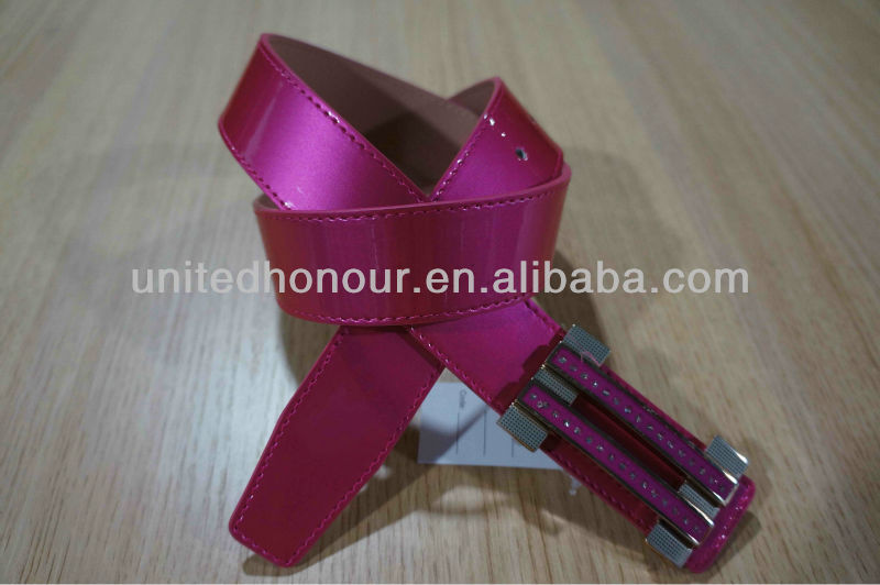 Fuxia Formal Ladies Belt Shiny Color Belts With Removable Buckle