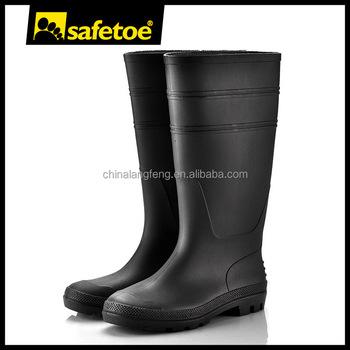 Men work water proof safety black gum boot W-6036B