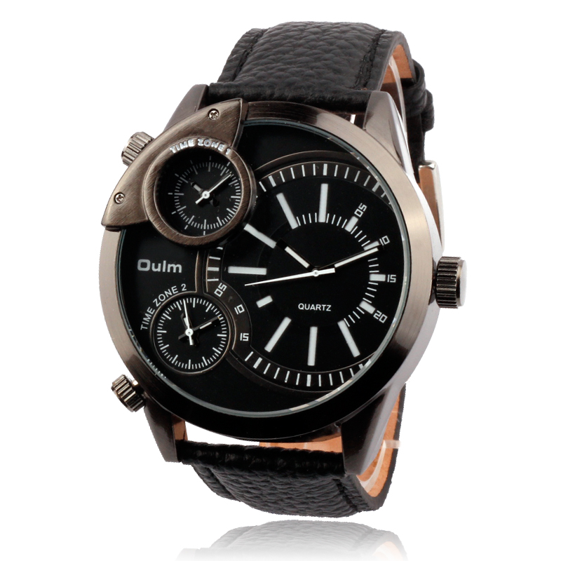 OULM 3136 Brand Designer Leather Military Army dz Watch Men relogio masculino original Outdoor Sports Tag imported Watches Black