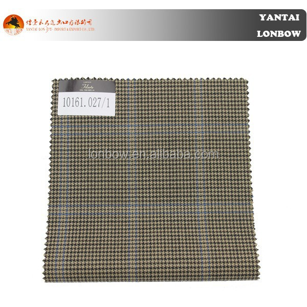 Unique yellow wool houndstooth pattern fabric for men's suiting on sale