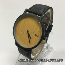 OEM genuine leather strap wood dial quartz movement stailess steel watch Bg550