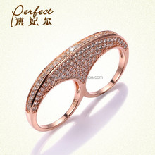 New arrival silver CZ double ring design with best factory price