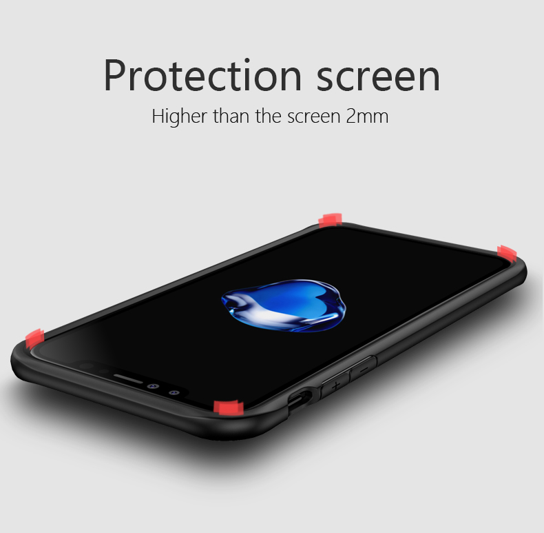 For iPhone X Case , Shockproof TPU Edge Clear PC Back Case for iPhone X Cover