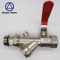 Green-GutenTop 3 way strainer Manual nickel plated y filter ball valve factory cw617n pump ball copper with long handle