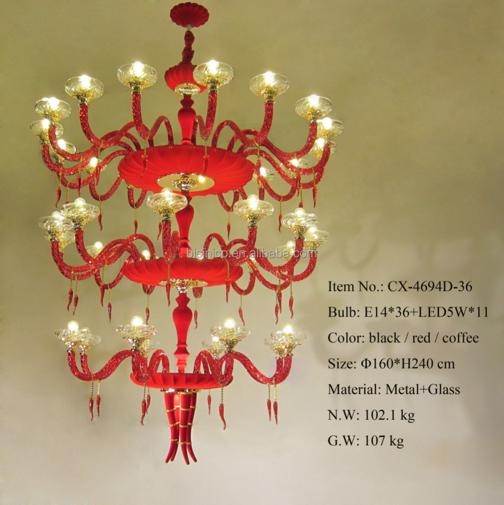 Hot Sale E14 Decorative Metal Chandelier/Beautiful New Design Three Levels Decorative Red Chandelier