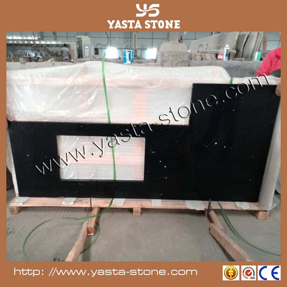 Chinese Competitive Price of Black Crystal Artifical Quartz Stone Kitchen Countertop