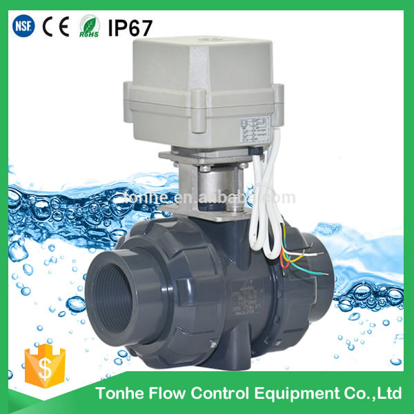 "CE IP67 2-way 1 1/2"" inch DN40 motorized UPVC PVC electric actuator ball valve"