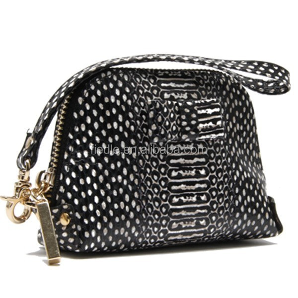 CW881-001 Exotic snake skin black and white genuine leather women handbag wallet women pouch