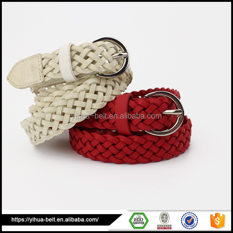 Popular best sell cheap leather belts woven elastic belt
