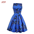 Women western printing designs elegant lady fashion dress for summer