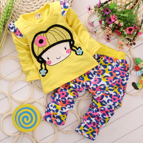 M60936A wholesale autumn printed girl clothing set