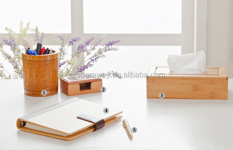 Bamboo stationery set wood office stationery list