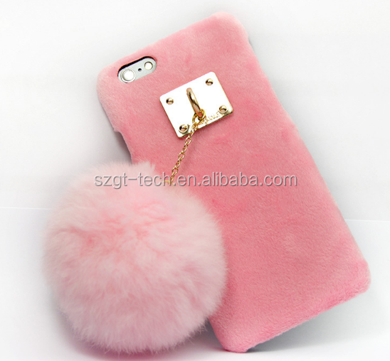 Fur 3d case supply cell phone case for iphone 7, cute fur ball case for iPhone 7,lovely case for girl