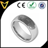 Cremation 8MM Domed Titanium Ring Custom Engraved Fingerprint Mens Wedding Band,Memory Finger Mark Rings