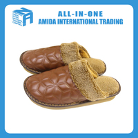 High quality customized new fashion leather homehold warm slipper