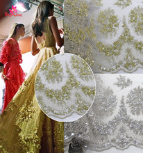 2017 Silver 3d Beaded Lace Fabric Haute Couture fabrics Bridal Heavy Beaded Lace Fabric with Embroidery