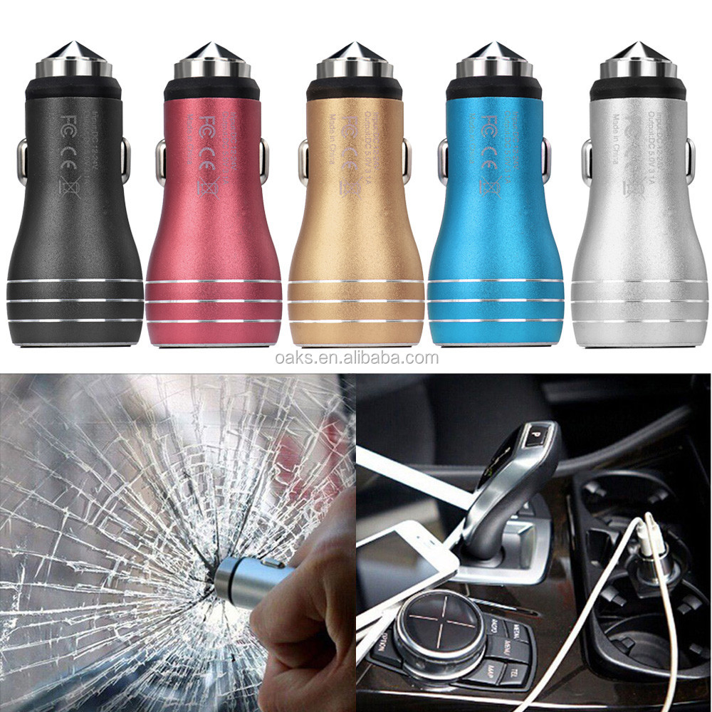 Metal Car Charger Adapters 5V 2.4A Mini 2 Port Dual Car USB Charger