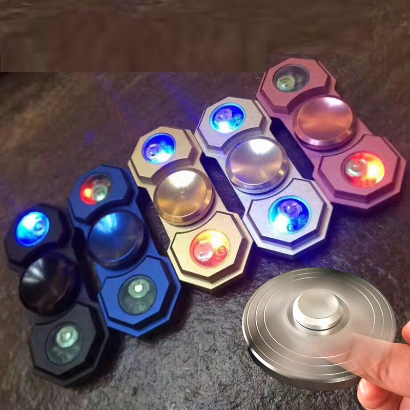 Wholesale Aluminum Metal LED Light Hand Spinner Fidget Hand Spinner With LED Light