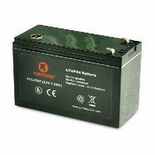 12V, 7.5Ah LiFePO4 Lithium-ion Rechargeable Battery, Replace SLA Battery for UPS and Telecom