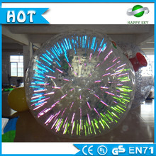 Top quality PVC/TPU Dia 3m Santa shinning zorbing ball, cheap shinning zorbball, giant shinning zorbing ball for sale