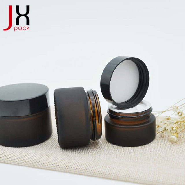 Cosmetic Face Cream Brown Amber Glass Jars
