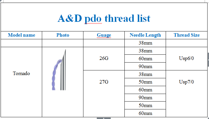 anti-wrinkle absorbable Tornado / Twin pdo thread26G90mm for beauty