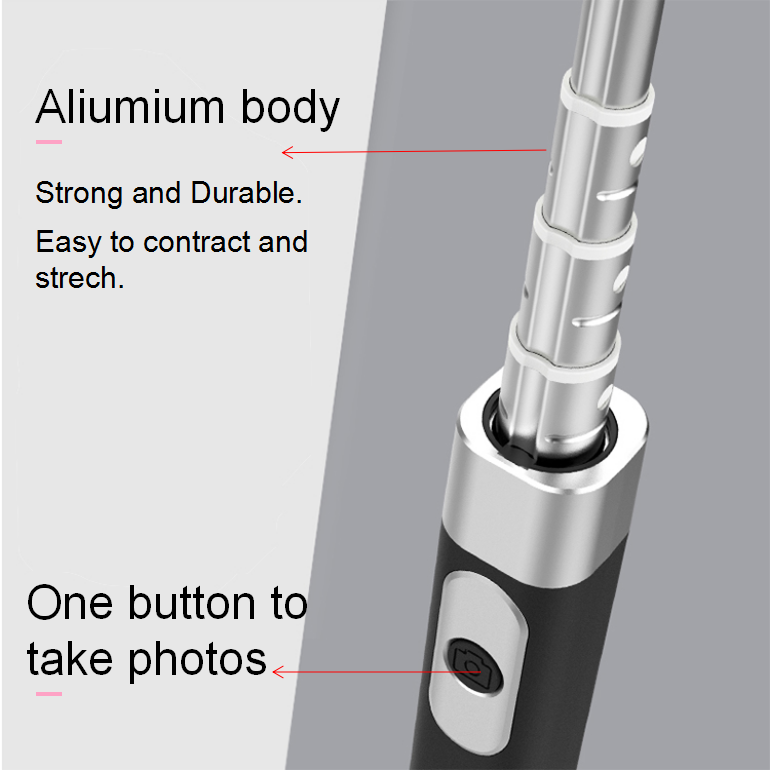 Wholesale Aluminium Selfie stick monopod with a small mirror