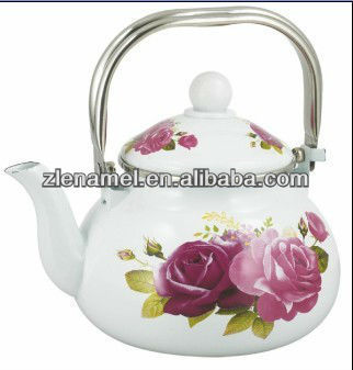 stainless steel handle enamel tea pot kettles with decals