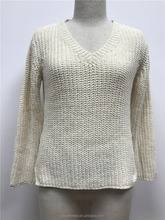 V-neck Chenille Cheap Women Pullover Knitted Sweater