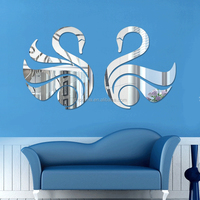 wall sticker with mirror effect swan shaped