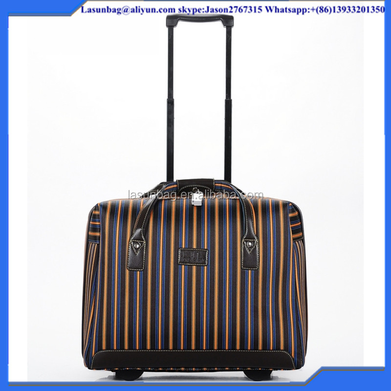 Brown stripe cheap 18 inch inidan stripe nylon small boarding travel luggage bag boarding trolley duffle bag