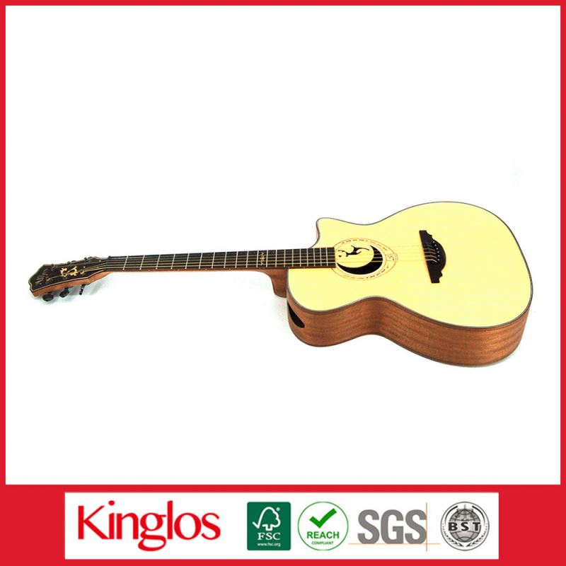 "Popular Basswood Acoustic Guitar Dreadnaught Cutaway 39""40""46 Inch with spcialcarving design (S40U-006-007)"